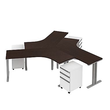 Bush Momentum 3 Person Dog-Leg Desk w 3 Dwr Ped Teaming Station Mocha Cherry