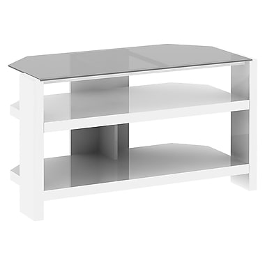 kathy ireland New York Skyline by Bush Furniture 42W TV Stand with Shelves, Plumeria White