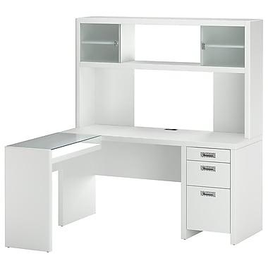 kathy Ireland by Bush NYS L Desk & Hutch Office Bundle, Plumeria White