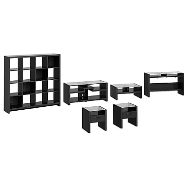 kathy ireland New York Skyline by Bush Furniture Work-N-Play with TV Stand, Occasional Tables and Bookcase, Modern Mocha