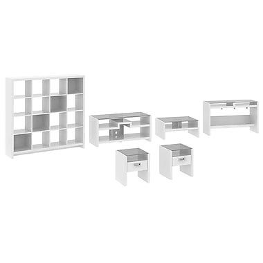 kathy ireland New York Skyline by Bush Furniture Work-N-Play with TV Stand, Occasional Tables and Bookcase, Plumeria White