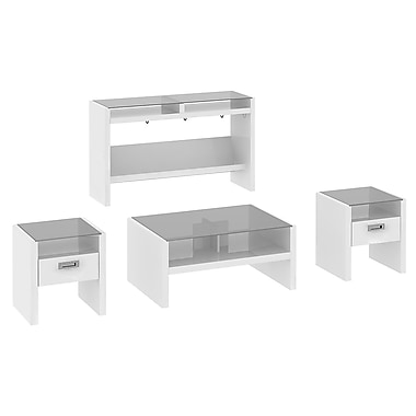 kathy ireland New York Skyline by Bush Furniture Set of (4) Occasional Tables, Plumeria White