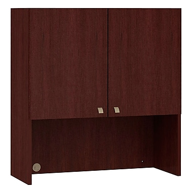 Bush Business Quantum 36W Hutch with Doors, Harvest Cherry