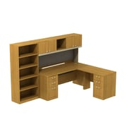 Bush Business Quantum 72W Right Hand L-Station with Hutch, Pedestals and 5-shelf Bookcase, Modern Cherry