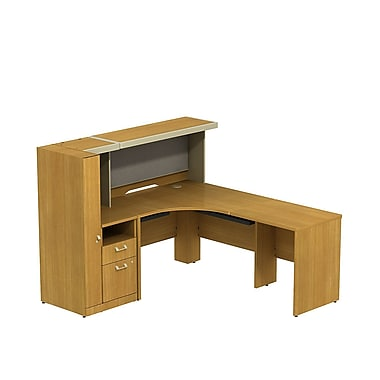 Bush Quantum 78in.W x 72in.D LH L-Station with Low Hutch and Storage Tower, Modern Cherry