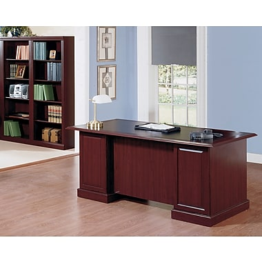 Bush Saratoga Desk with Bookcase Office Bundle, Harvest Cherry/Black