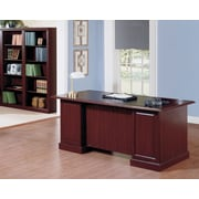Bush Business Furniture Saratoga Collection Managers Desk with 5 Shelf Bookcase, Harvest Cherry/Black (SAR003CS)