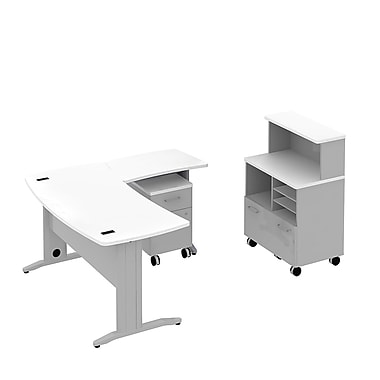 Bush Business Sector 60W x 30D Curved L-Desk, Mobile Piler Filer with Storage and 2 Dwr Ped, White