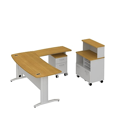 Bush Business Sector 72W x 30D Curved L-Desk, Mobile Piler Filer and 2 Dwr Pedestal, Modern Cherry