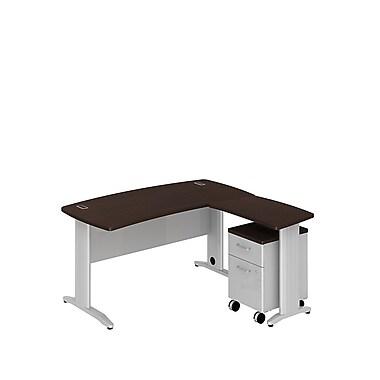 Bush Business Sector 60W x 30D Curved L-Desk with 2 Dwr Mobile Pedestal, Mocha Cherry