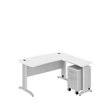 Bush Business Sector 60W x 30D Curved L-Desk with 2 Dwr Mobile Pedestal, White