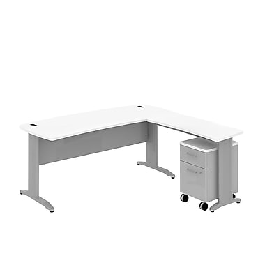 Bush Business Sector 72W x 30D Curved L-Desk with 2 Dwr Mobile Pedestal, White