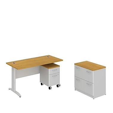 Bush Business Sector 60W x 30D Rectangular Desk with 2 Dwr Lateral File and 2 Dwr Mobile Pedestal, Modern Cherry