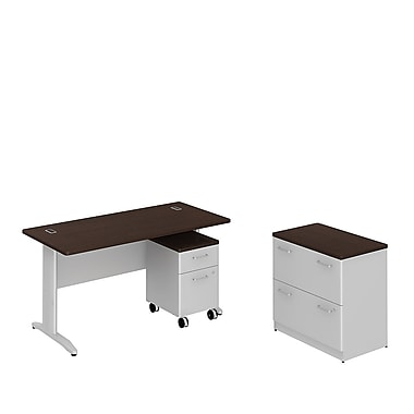 Bush Business Sector 60W x 30D Rectangular Desk with 2 Dwr Lateral File and 2 Dwr Mobile Pedestal, Mocha Cherry