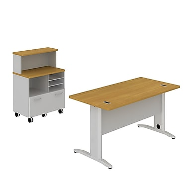 Bush Business Sector 60W x 30D Rectangular Desk with Piler Filer and Storage Shelf, Modern Cherry