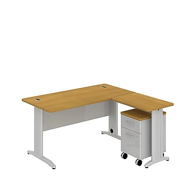 Bush Business Sector 60W x 30D L-Desk with 2 Dwr Mobile Pedestal, Modern Cherry