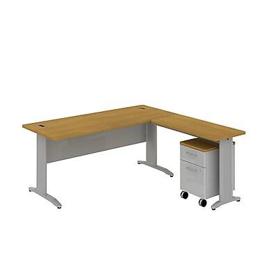 Bush Business Sector 72W x 30D Rectangular L-Desk with Mobile Pedestal, Modern Cherry