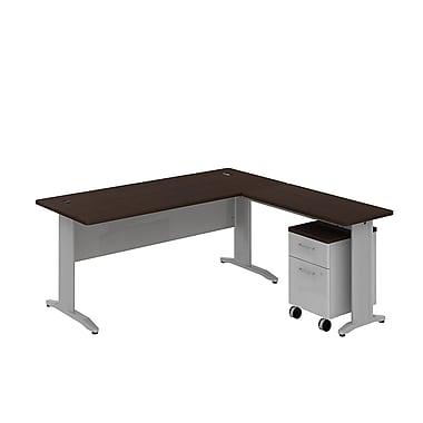 Bush Business Sector 72W x 30D Rectangular L-Desk with Mobile Pedestal, Mocha Cherry