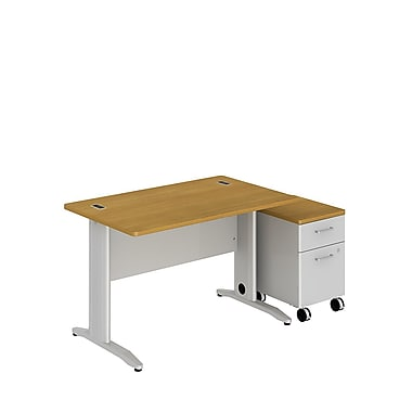 Bush Business Sector 48W x 30D Rectangular Desk with 2 Dwr Mobile Pedestal, Modern Cherry