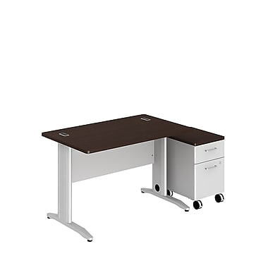 Bush Business Sector 48W x 30D Rectangular Desk with 2 Dwr Mobile Pedestal, Mocha Cherry