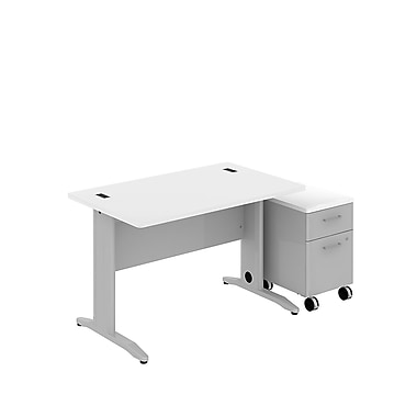 Bush Business Sector 48W x 30D Rectangular Desk with 2 Dwr Mobile Pedestal, White