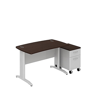 Bush Business Sector 48W x 30D Curved Desk with 2 Dwr Mobile Pedestal, Mocha Cherry