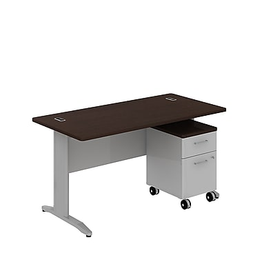 Bush Business Sector 60W x 30D Rectangular Desk with 2 Dwr Mobile Pedestal, Mocha Cherry