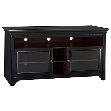 Bush Furniture Stanford TV Stand, for up to 60W TV, Antique Black with Hansen Cherry