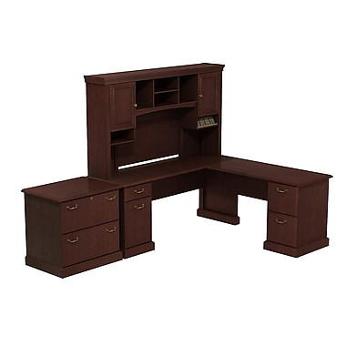 Bush Syndicate L-Desk with Hutch and Lateral File, Harvest Cherry