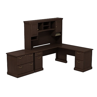 Bush Syndicate L-Desk with Hutch and Lateral File, Mocha Cherry