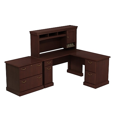 Bush Syndicate L-Desk with Hutch and Lateral File, 57.58