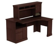 Bush Syndicate Expandable Corner Workstation with Hutch, Harvest Cherry
