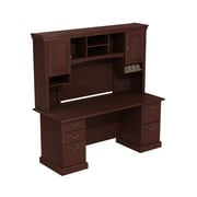 Bush Syndicate 72W x 30D Double Pedestal Desk with Hutch, Harvest Cherry