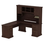 Bush Syndicate 60W x 60D L-Desk with Hutch, Mocha Cherry