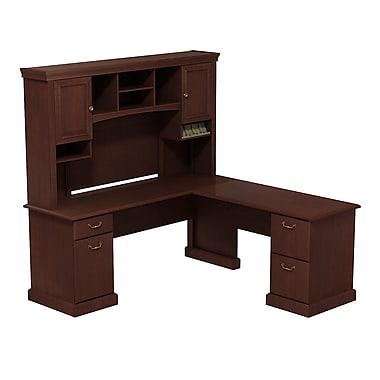 Bush Syndicate L-Desk with Hutch, Harvest Cherry