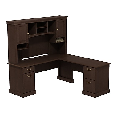 Bush Syndicate L-Desk with Hutch, Mocha Cherry