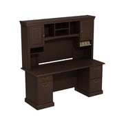 Bush Business Syndicate 72W x 22D Double Pedestal Desk with Hutch, Mocha Cherry
