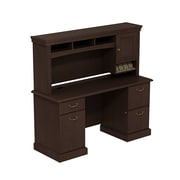 Bush Syndicate 60W x 22D Double Pedestal Desk with Hutch, Mocha Cherry