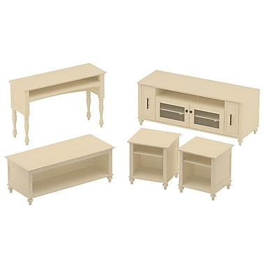 kathy ireland Volcano Dusk by Bush Furniture Entertainment Suite with 58W TV Stand and Occasional Tables, Antique White