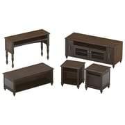 kathy ireland Volcano Dusk by Bush Furniture Entertainment Suite with 58W TV Stand and Occasional Tables, Espresso