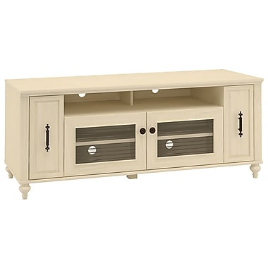 kathy ireland Volcano Dusk by Bush Furniture TV Stand with Pull-out Media Storage, Antique White