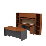Bush Business Westfield 72W Bowfront Desk with 72W Credenza, Hutch & (2) Bookcases, Autumn Cherry/Graphite Gray