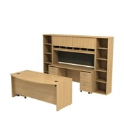 Bush Business Westfield 72W Bowfront Desk with 72W Credenza, Hutch & (2) Bookcases, Danish Oak
