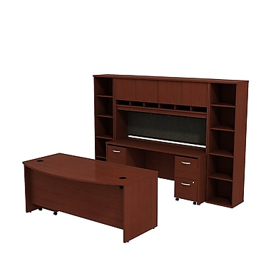 Bush Business Westfield 72W Bowfront Desk with 72W Credenza, Hutch & (2) Bookcases, Cherry Mahogany