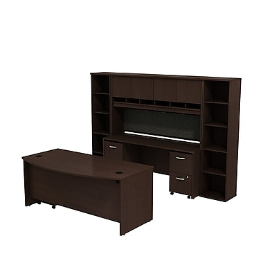 Bush Westfield 72in. Bowfront Desk w/ Credenza, Hutch & Bookcase Storage - Mocha Cherry