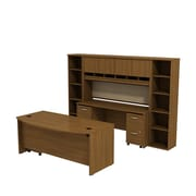 Bush Business Westfield 72W Bowfront Desk with 72W Credenza, Hutch & (2) Bookcases, Cafe Oak