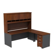 Bush Westfield L-Desk with 3-Dwr Mobile Ped Hutch, Hansen Cherry