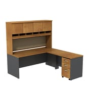 Bush Business Westfield 72W L-Desk with 4-Door Hutch and 3-Drawer Mobile Pedestal, Natural Cherry/Graphite Gray