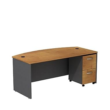 Bush – Coquille de bureau à devant arqué 72 po Westfield et classeur sur roulettes 2 tiroirs, cerisier naturel et gris graphite