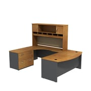 Bush Business Westfield 72W Bowfront LH U-Station with 2-Door Hutch and Lateral File, Natural Cherry/Graphite Gray